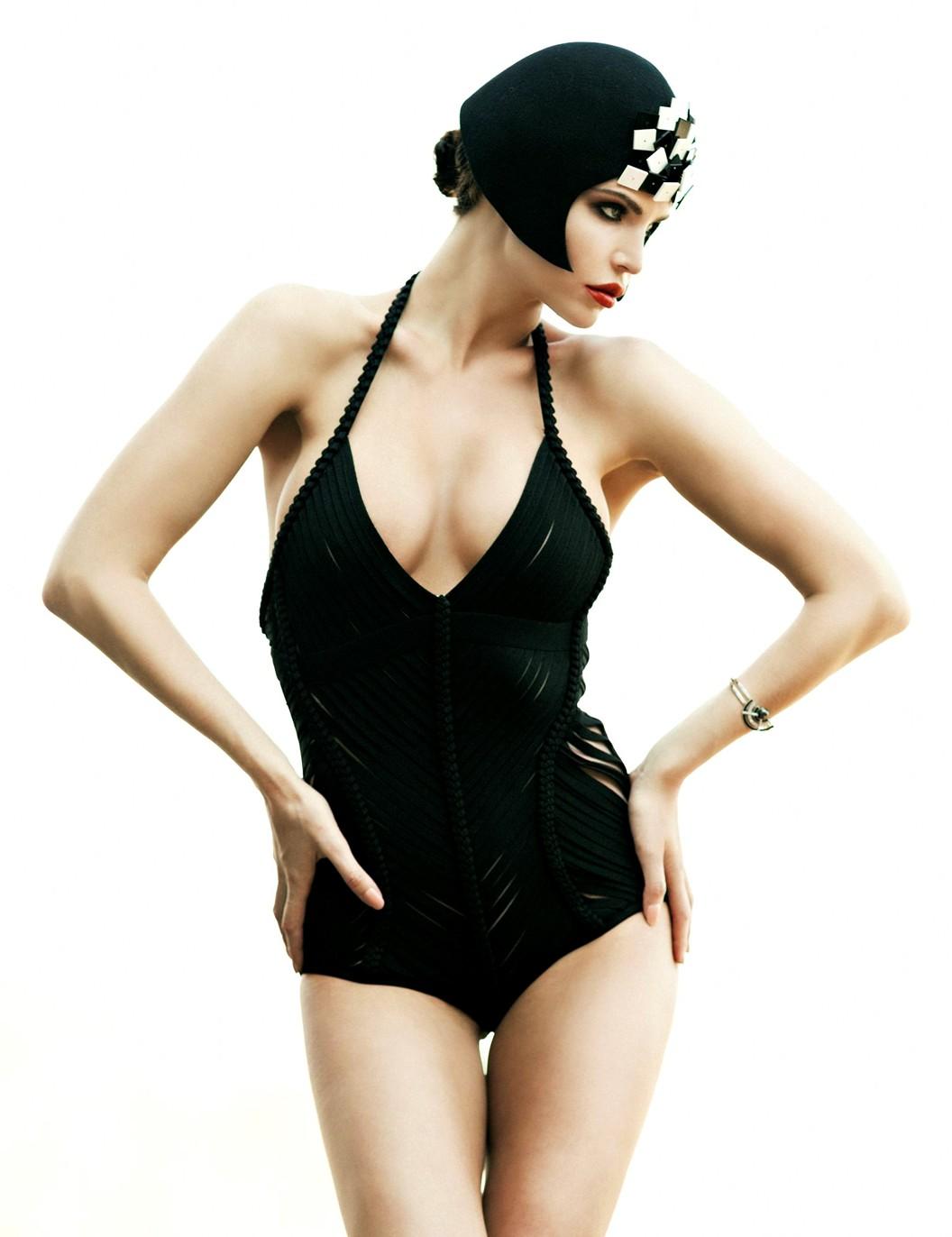 Julia Lescova, classic, swimwear, red hot, model