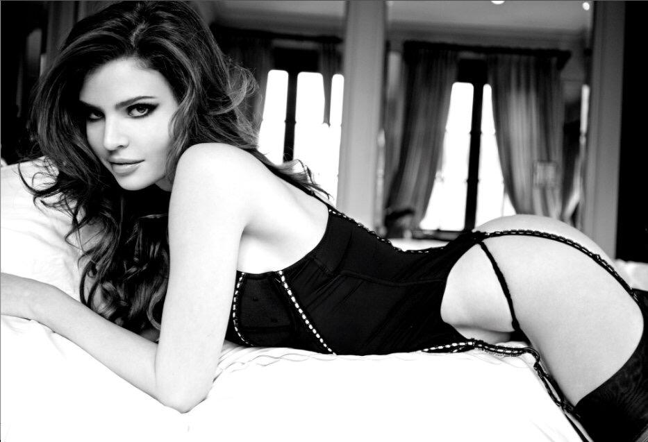 Julia Lescova, red hot, sexy, lingerie