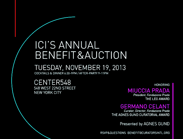 ICI Annual Benefit + Honoring Miuccia Prada + Germano Celant