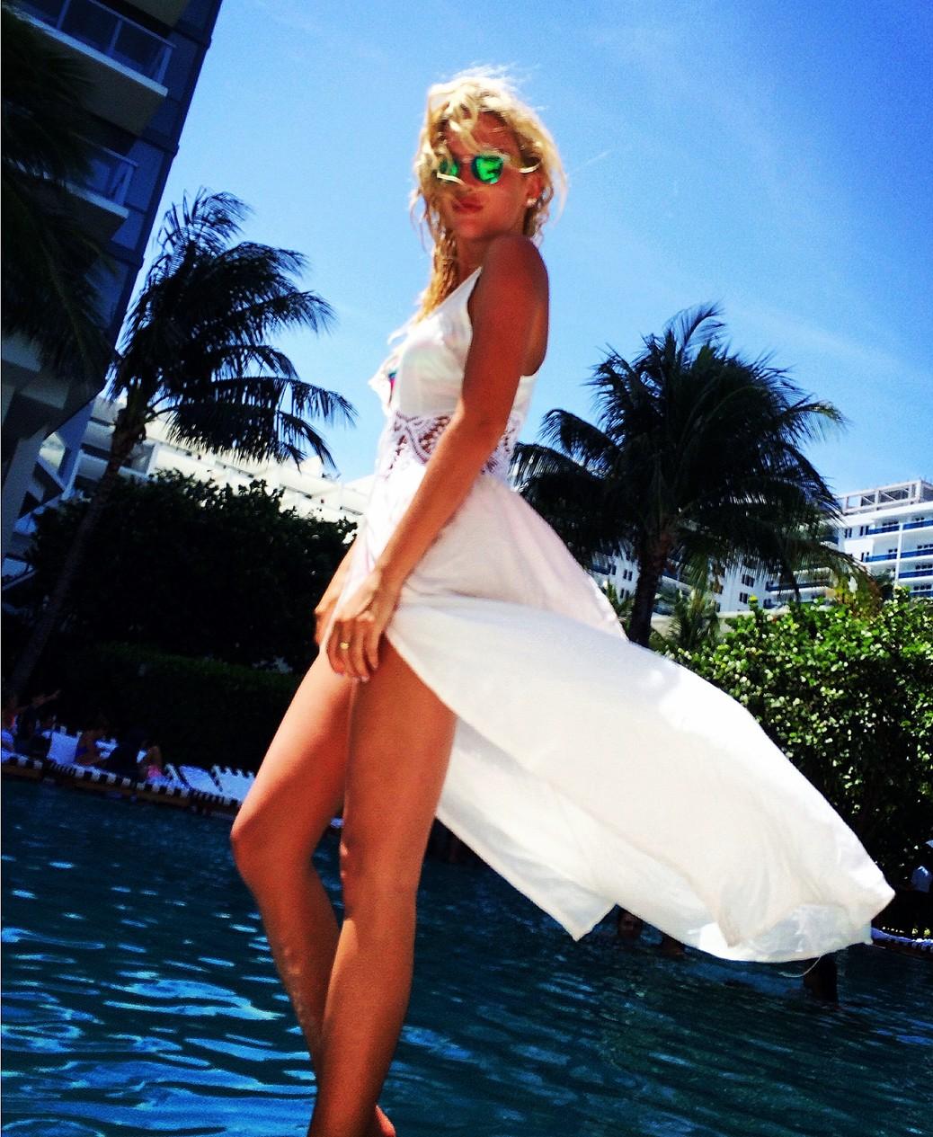 Karol Marie Morrison white dress