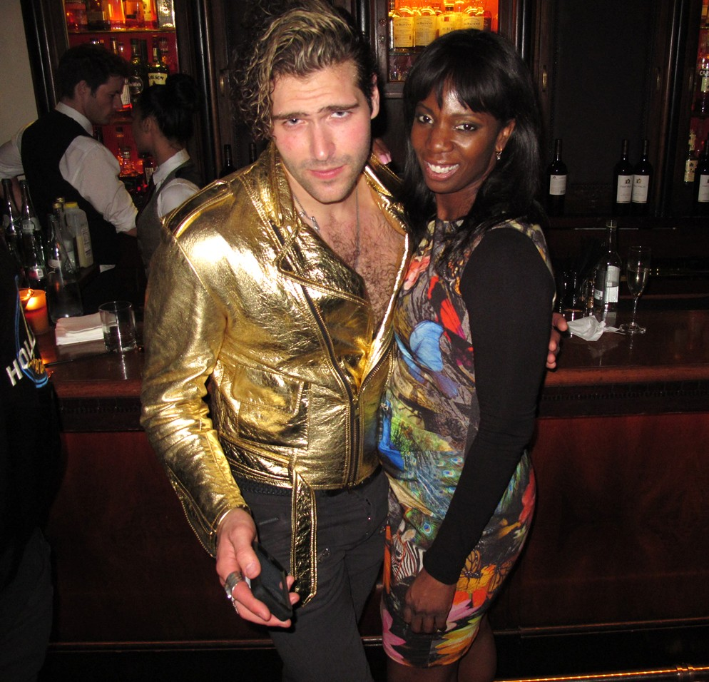 Warner Music Group Grammy party, gold suit