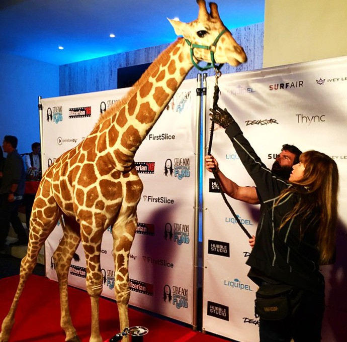 Dan Bilzerian, giraffe, red carpet