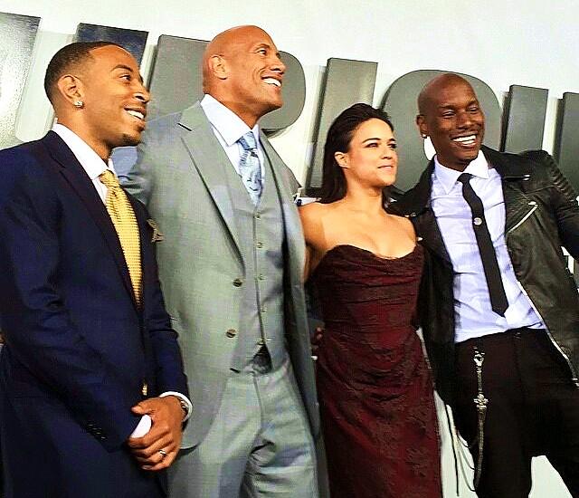 Furious 7, Ludacris, Dwayne Johnson, Michelle Rodriguez, Tyrese Gibson