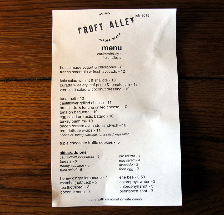 Croft Alley, menu, july, LA, eats, food, restaurant