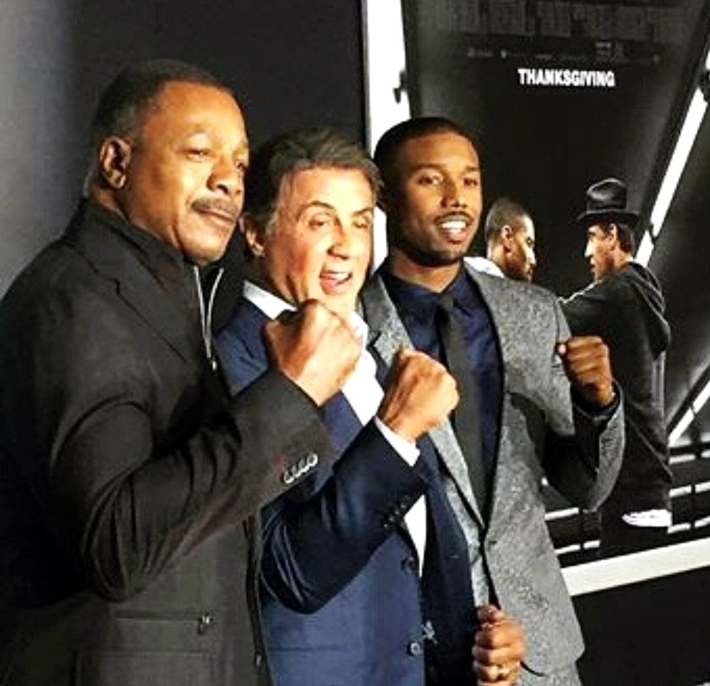 Creed movie premiere, Carl Weathers, Sylvester Stallone, Michael B, LA