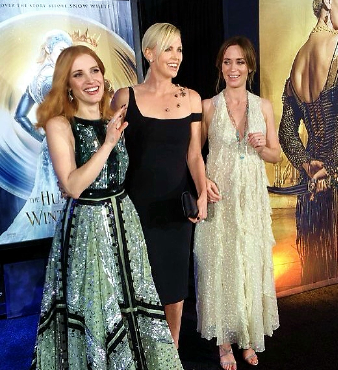 The Huntsman Winter's War, premiere, Jessica Chastain, Charlize Theron, Emily Blunt