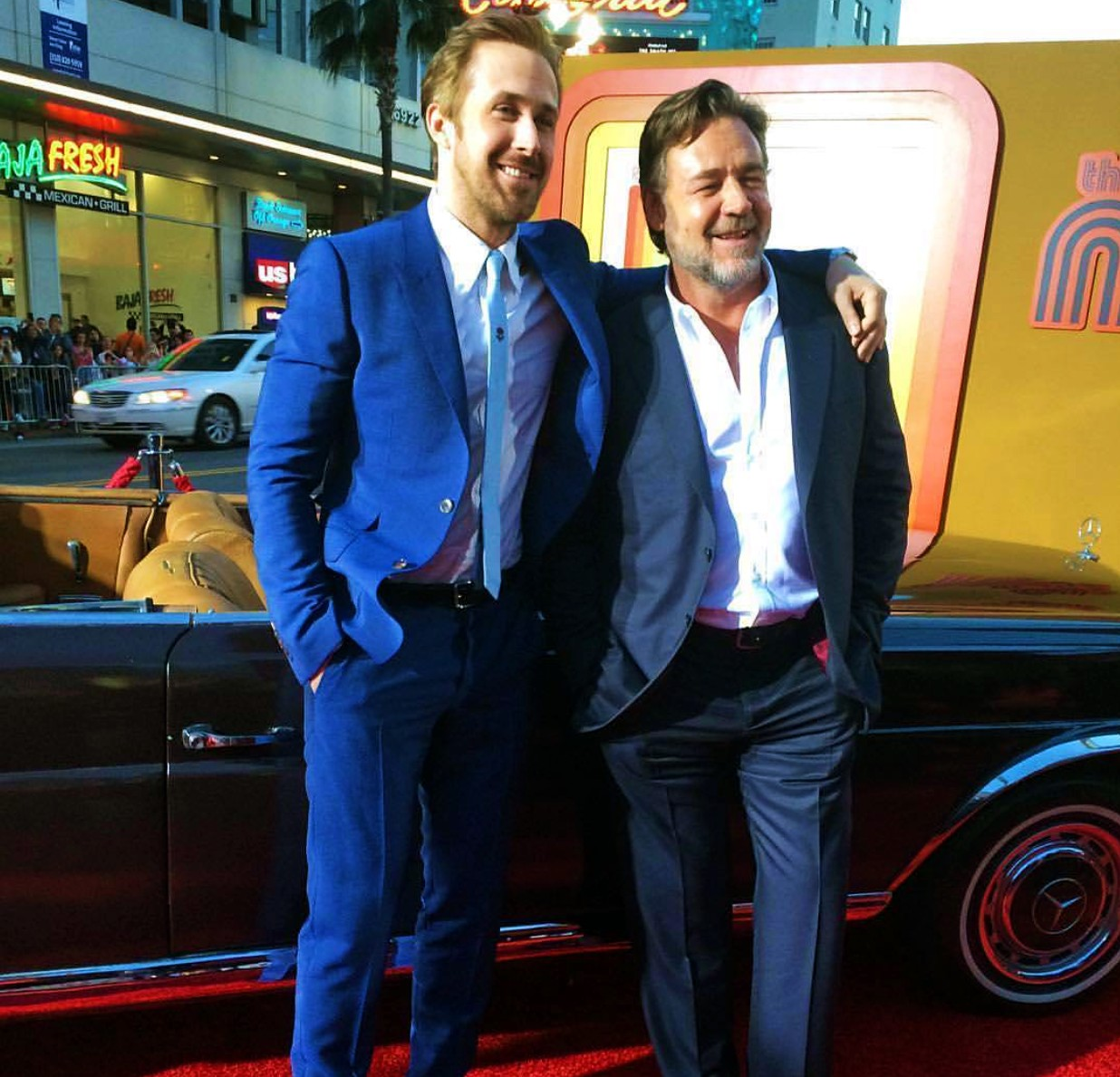 The Nice Guys, movie premiere, red carpet, Ryan Gosling, Russell Crowe