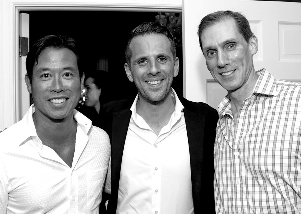 Matthew Yee, Gregoire Vogelsang Christian Porwoll==Cube Art Fair Intimate New York Party==Private Residence, NYC==September 1, 2016==©Patrick McMullan==Photo - Victor Hugo/PMC====Matthew Yee; Gregoire Vogelsang;, Christian Porwoll